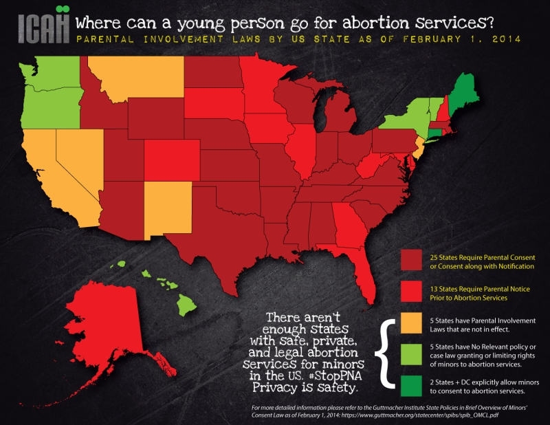 Where can a young person go for abortion services? abortion parental notice involvement consent us map stoppna