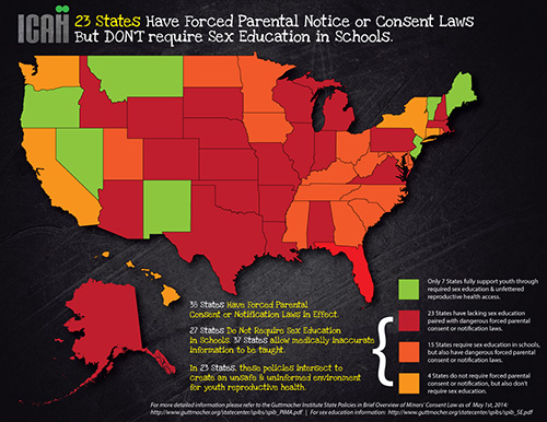 map showing 23 States have forced parental involvement laws but little or no sex ed